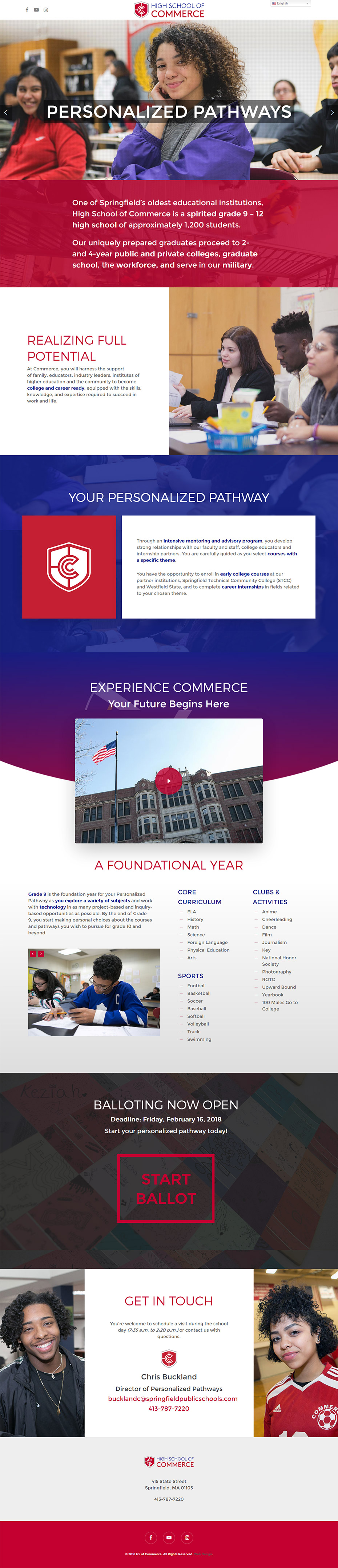 High School of Commerce website design