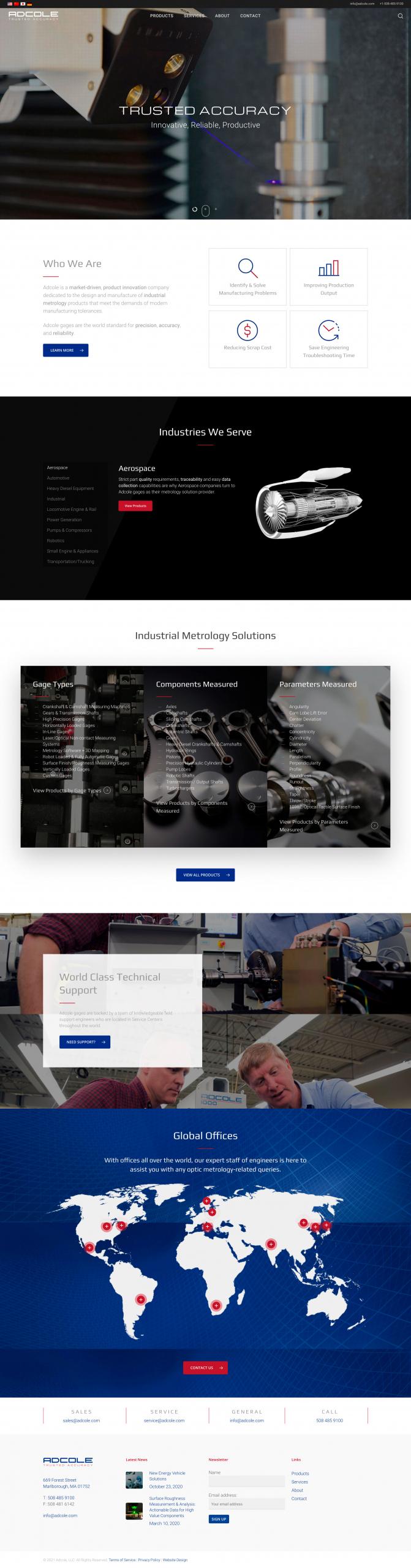 Adcole homepage design