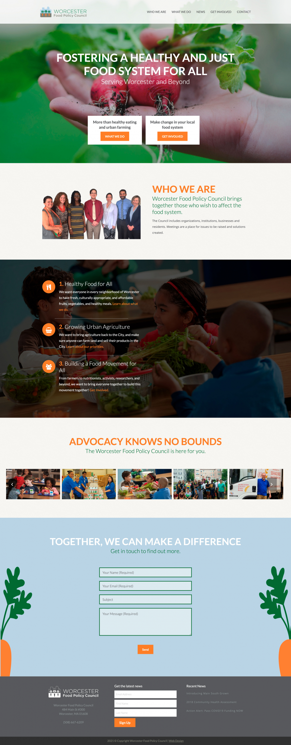 Worcester Food Policy Council homepage screenshot.org