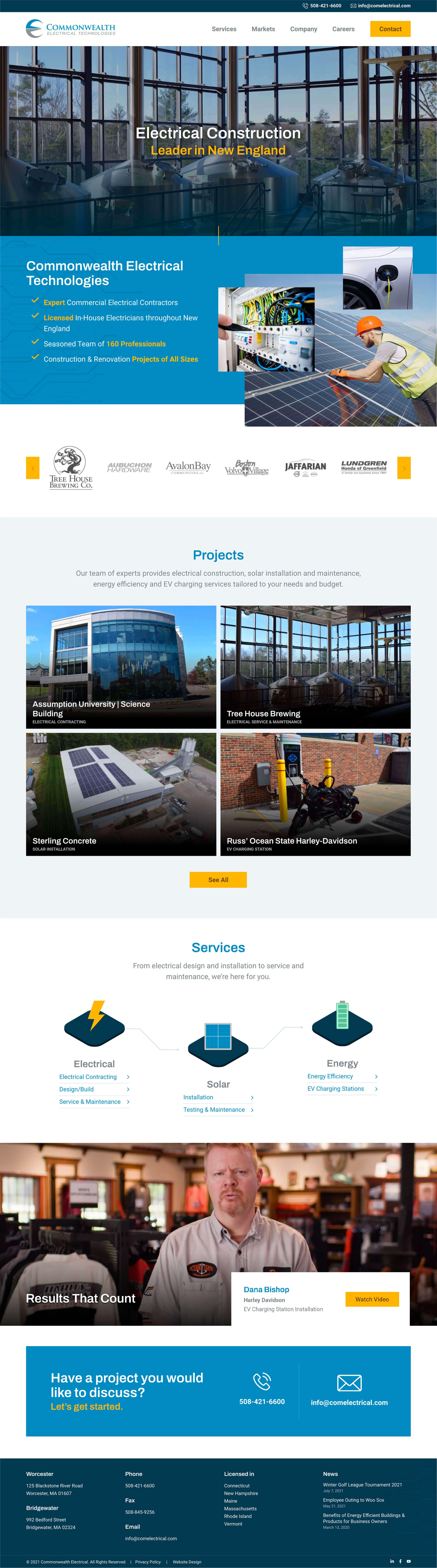 CET Electrician Website Homepage