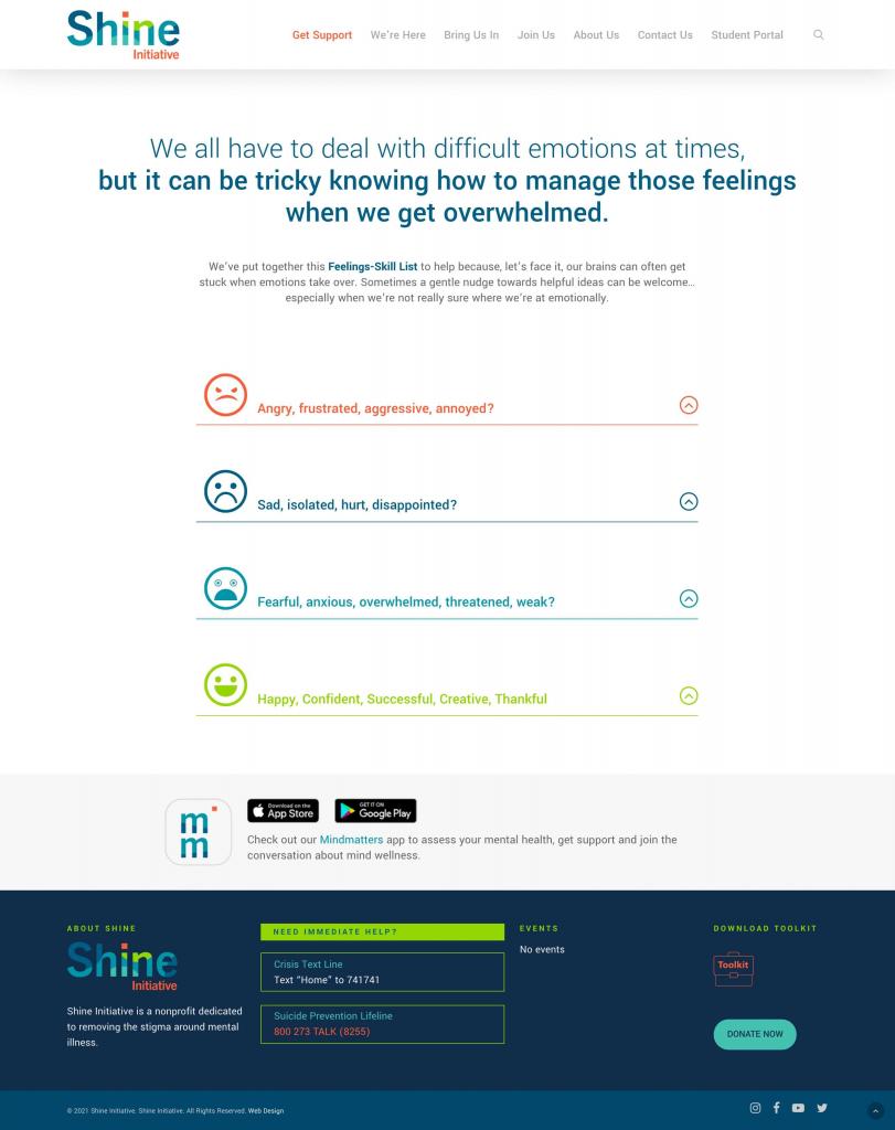 Shine effective non profit website 2